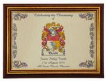 Family Crest Christening or Baptism Print PERSONALISED, Gold Effect Frame,  ref CPGF